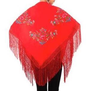 XALE ESPANHOL bordado 160x75 vermelho flores coloridas flamenco cigano