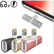 Adaptador Iphone Carregador Fone Lightning Audio + Charge Cor:Prata