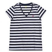 Camiseta Polo Ralph Lauren Gola V - Listrada, Branco com Azul