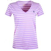 Camiseta Polo Ralph Lauren Gola V - Listrada, Branco com Roxo