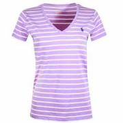 Camiseta Feminina Listrada Lilás e Branco - Polo Ralph Lauren - Tamanho: GG