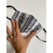 Máscara de Proteção Reutilizável 3D - Adulto | Cinza - Estampa Geométrica
