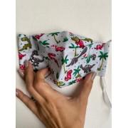 Máscara de Proteção Reutilizável 3D - Infantil | Dinossauro
