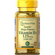 Vitamina D3 5000UI - Puritan's Pride - 125 mcg (100 softgel)