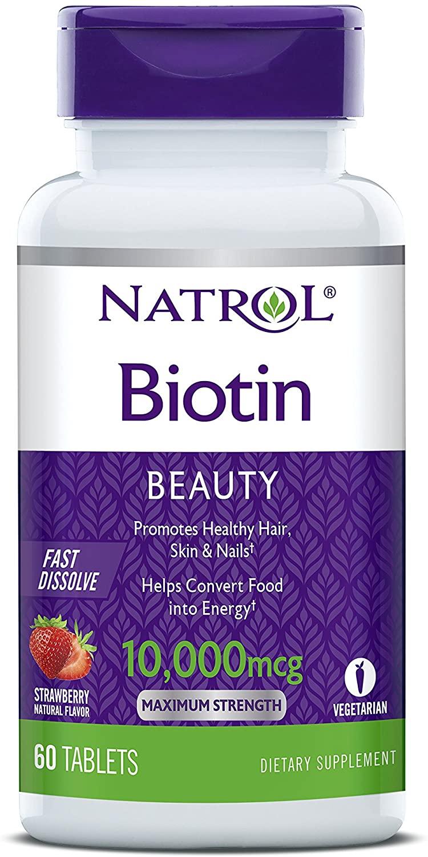 Biotina - Natrol 10.000mcg - Sabor Morango (60 Cápsulas)