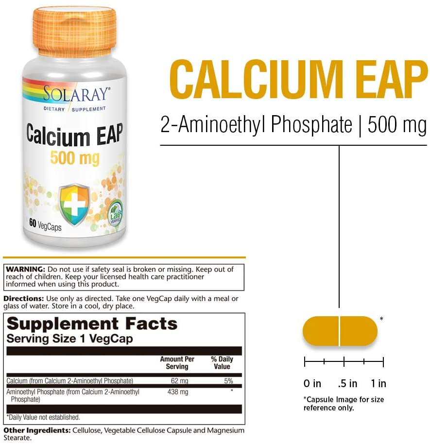 Calcium - EAP-SOLARAY - 500mg (60 cápsulas)