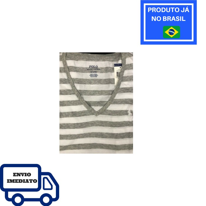Camiseta Polo Ralph Lauren Gola V - Listrada, Branco com Cinza