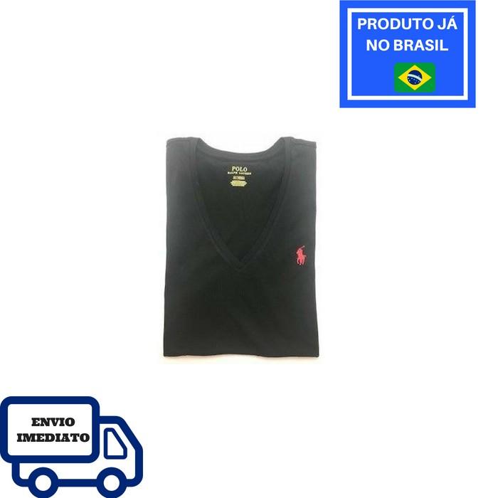 Camiseta Polo Ralph Lauren Gola V - Preta 2c4e8d21426