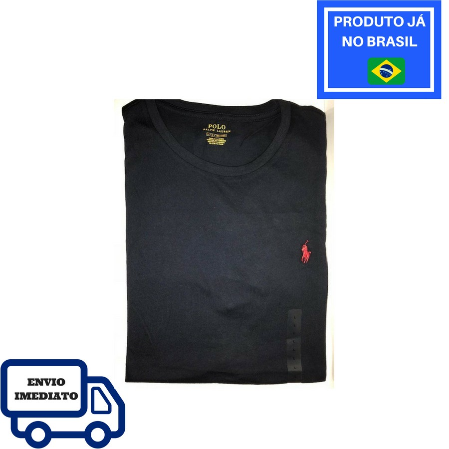 37b9b14fd173c Camiseta Polo Ralph Lauren Gola Redonda - Azul Marinho - Delivery Mimos -  Importados