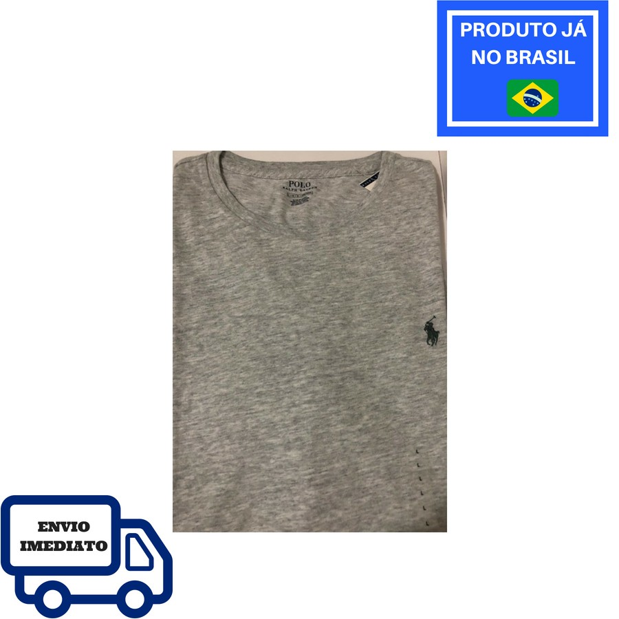 Camiseta Polo Ralph Lauren Gola Redonda - Cinza cb093ff02d58c