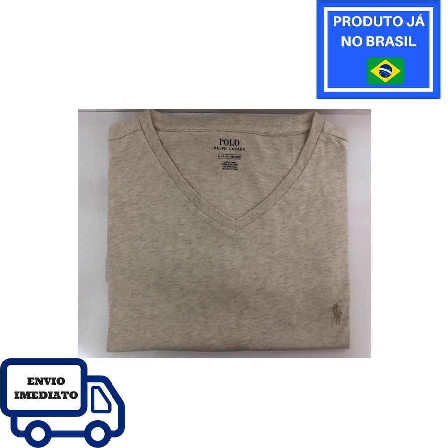 778bc52f43ce2 Camiseta Polo Ralph Lauren Gola V - Areia