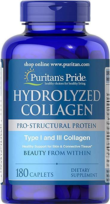 Colágeno Hidrolisado 1 E 3 4000mg Puritans Pride - 180 cáps