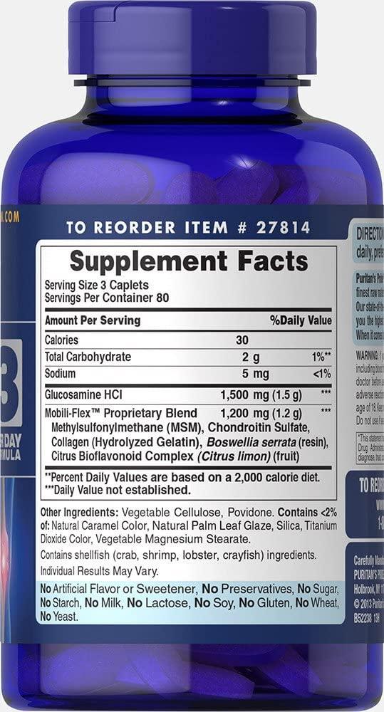 Glucosamina e Condroitina  e MSM - Puritan's Pride - 1500 mg (240 Cápsulas)