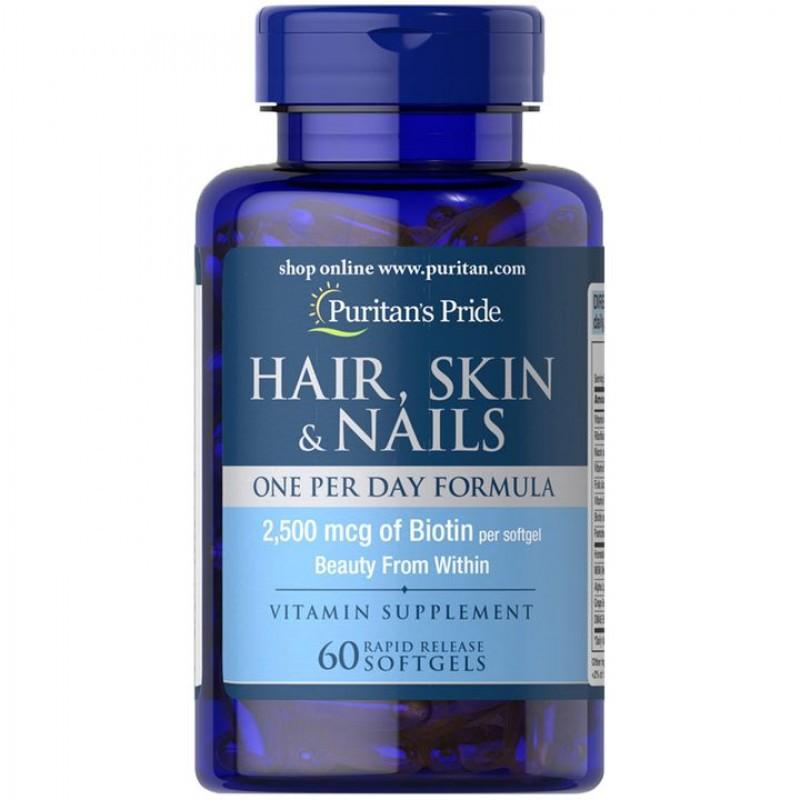 Hair, Skin & Nails - Puritan's Pride - 2500mcg I Cabelo, Pele & Unhas (60 Softgel)