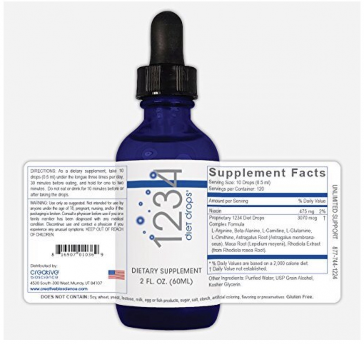 1234 Diet Drops - CREATIVE BIOSCIENCE  (60ml)