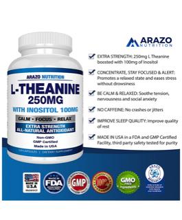 L-Theanine - Arazo Nutrition 250mg (120 Cápsulas)