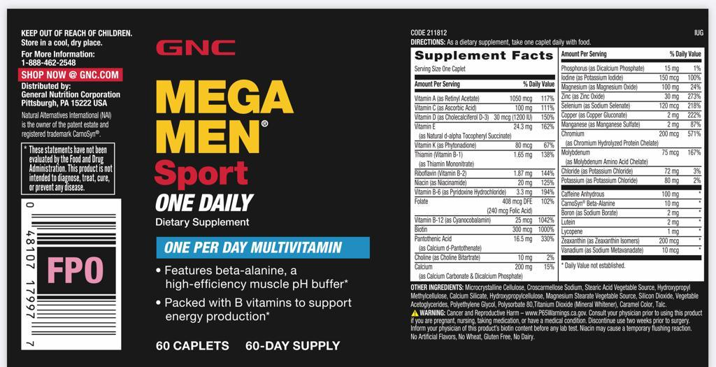 Mega Men Multivitamínico Sport One Daily - GNC (60 Cápsulas)