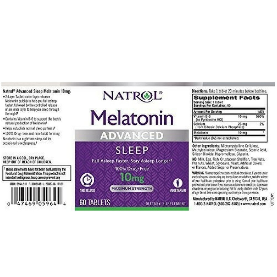 Melatonina Natrol - Advanced - Time Release 10mg (60 Cápsulas)