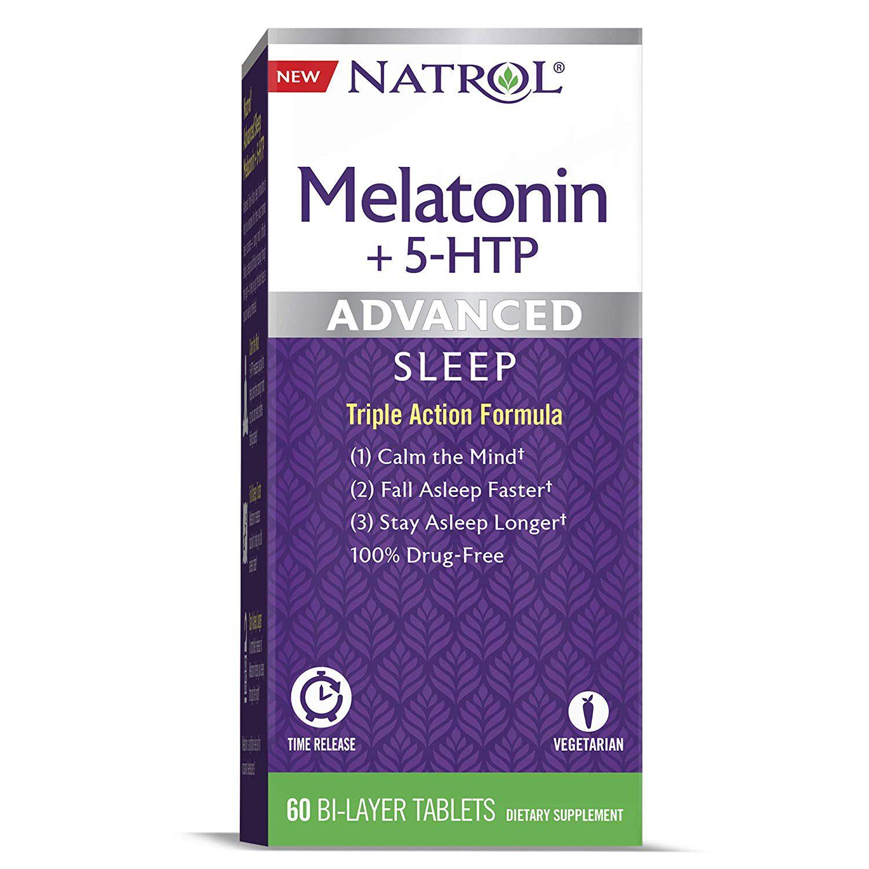 Melatonina NATROL - Advanced + 5-HTP (60 tabletes)