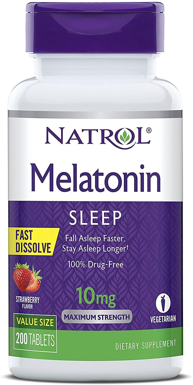 Melatonina Natrol Fast Dissolve 10 mg sabor morango 200 tabletes