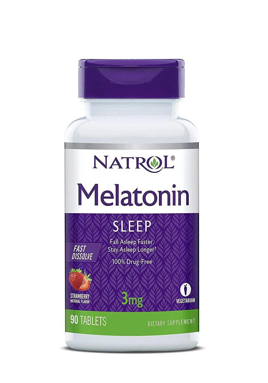 Melatonina Natrol Fast Dissolve 3 mg sabor morango 90 tabletes