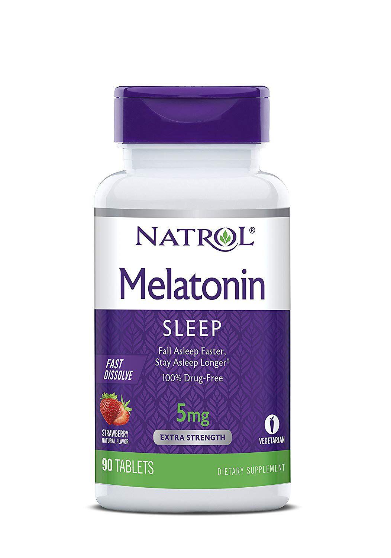 Melatonina Natrol Fast Dissolve 5 mg sabor morango 90 tabletes