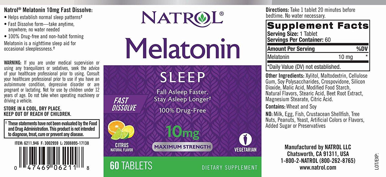 Melatonina Natrol - Fast Dissolve - Sabor Citrus 10mg (60 Tabletes)