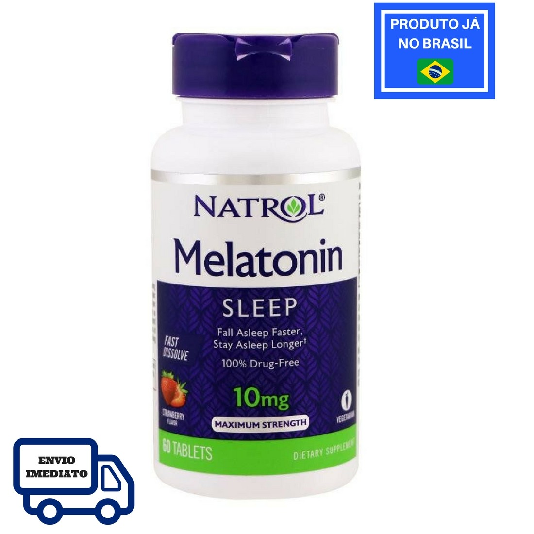 Melatonina NATROL Fast Dissolve morango 10mg (60 tabletes)