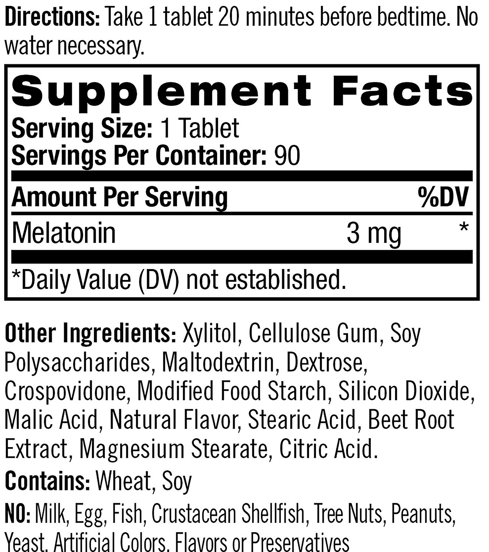 Melatonina NATROL Fast Dissolve morango 3mg (90 tabletes)