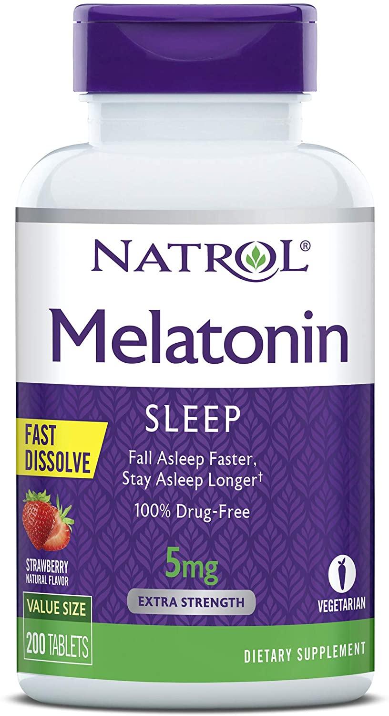 Melatonina Natrol - Fast Dissolve - Sabor Morango 5mg (200 Tabletes)