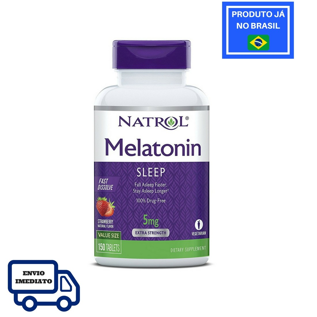 Melatonina Natrol - Fast Dissolve - Sabor Morango 5mg (150 Tabletes)