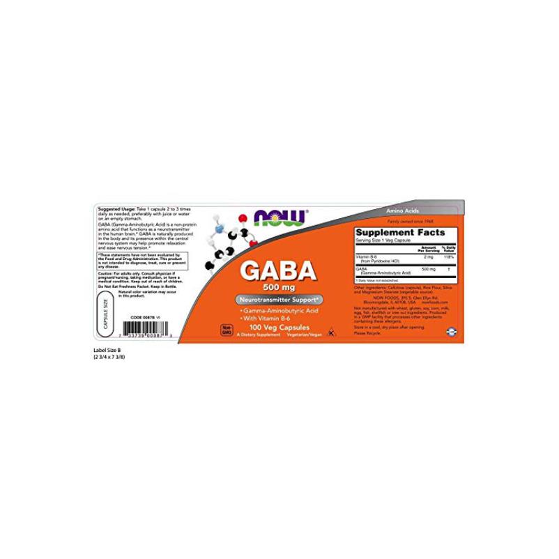 Now Foods Gaba 500mg & Vitamina B6 2mg - 100 VCaps