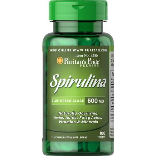 Spirulina  - Puritan's Pride - 500mg (100 Comprimidos)