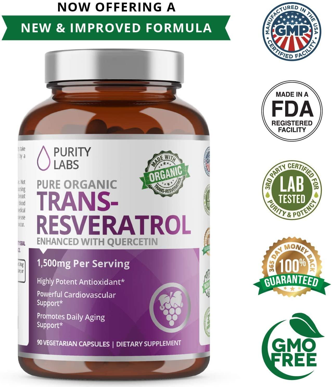 Trans-Resveratrol Orgânico - Puri Labs - 1.500mg (90 cápsulas)