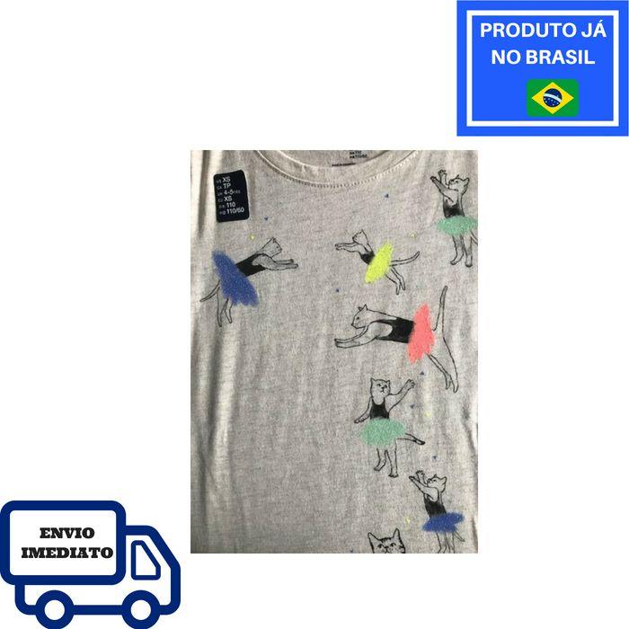 Camiseta GAP - Cinza Com Ilustrações De Gatinhos