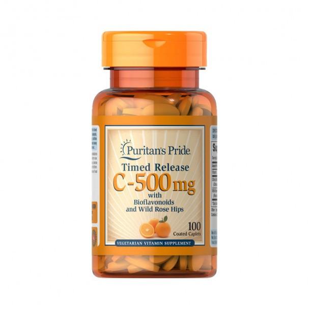 Vitamina C 500mg com Rosa Mosqueta - Puritan's Pride - Time Release (100 Comprimidos)