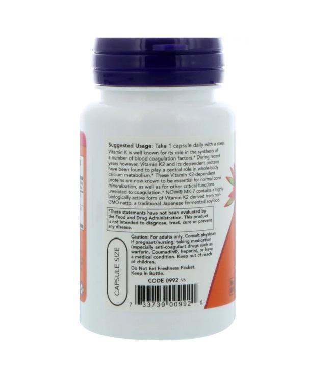 Vitamina MK-7 Vitamina K-2 - Now -100mcg (60 Cápsulas Veganas)