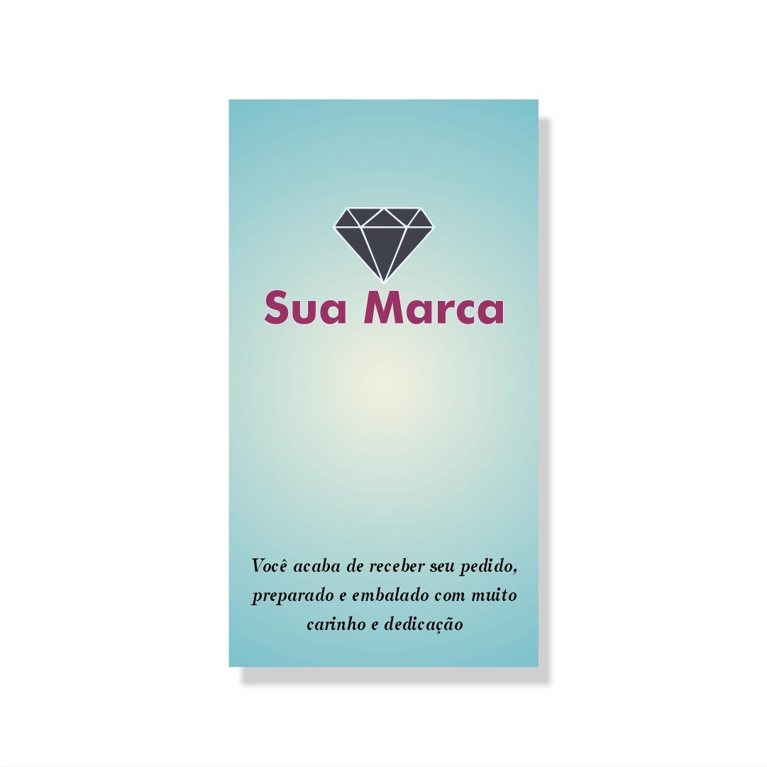 Cartão de Agradecimento Personalizado - 4,8x8,8 cm