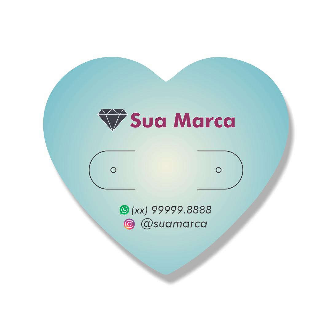 Cartela Personalizada Brincos Coração - 4,25x4,8 cm
