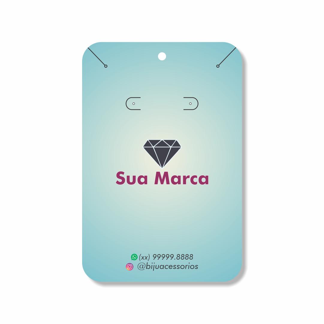 Cartela Personalizada Conjunto Brincos e Cordões Finos - 10x15 cm