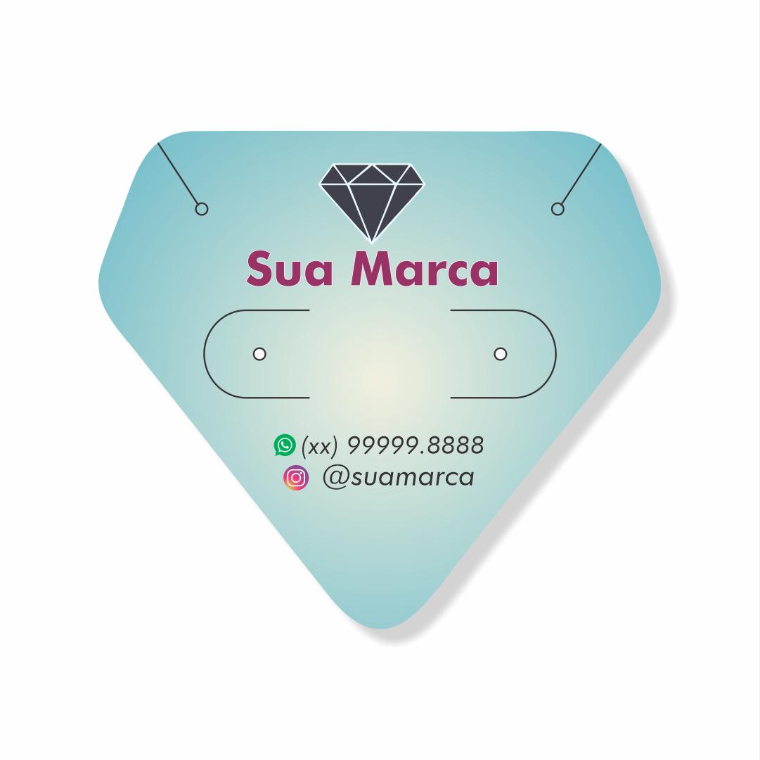 Cartela Personalizada Conjunto Brincos e Cordões Finos Diamante - 4,8x4,25 cm