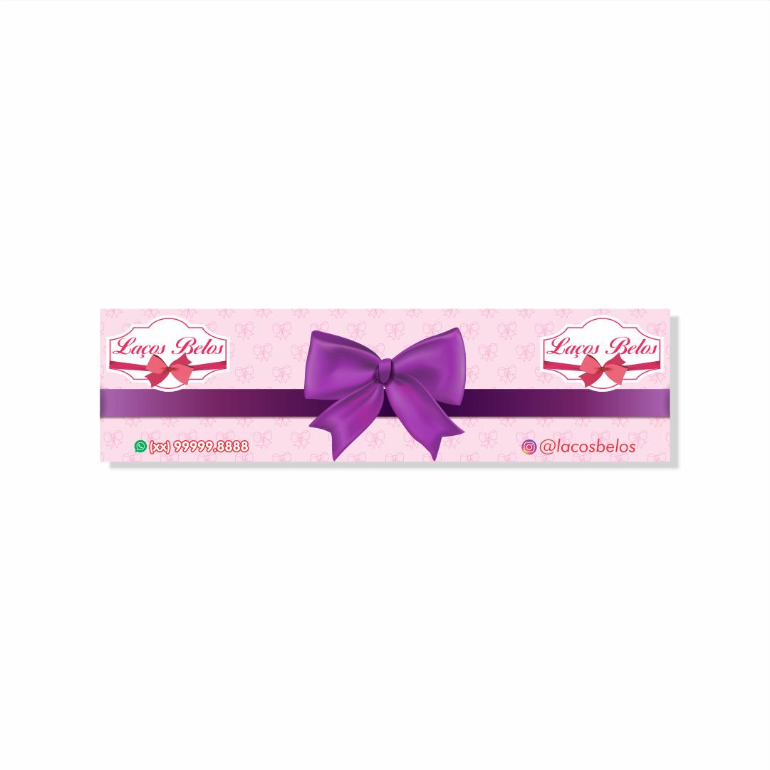 Cartela Personalizada para Laços de Faixa - 4,8x17,9 cm