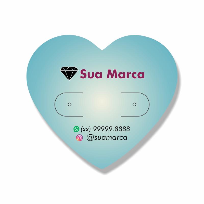 Tag Personalizada para Brincos Coração - 4,25x4,8 cm