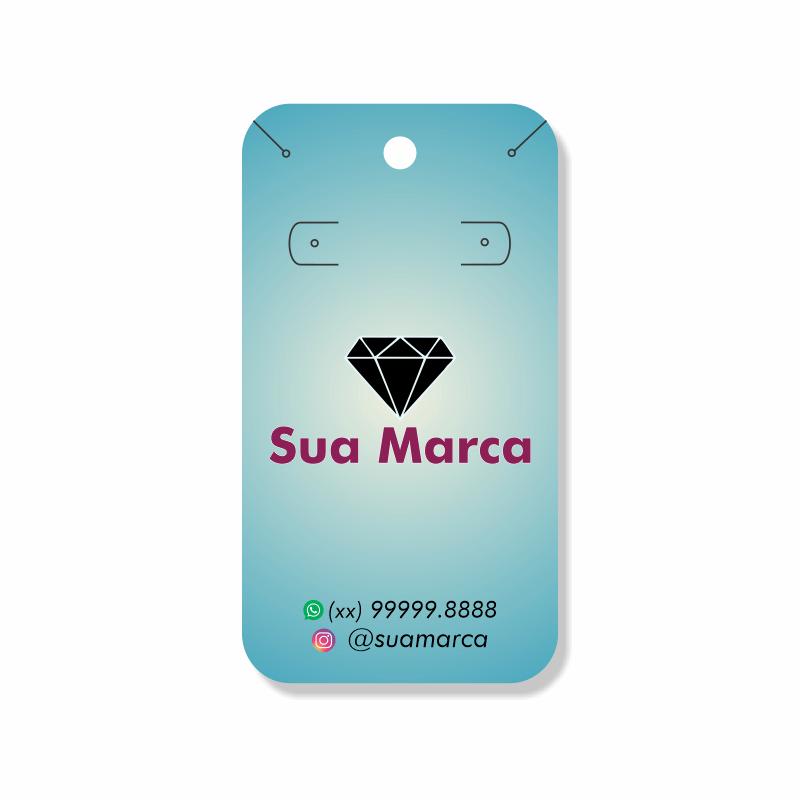 Tag Personalizada para Brincos e Cordão - 4,8x8,8 cm