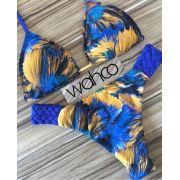 Biquini Cortininha Antigua Azul