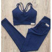 Conjunto Poá Azul Empina Bumbum com bolso