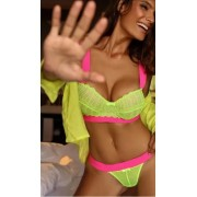 Lingerie Cropped Amarelo Neon Com Pink