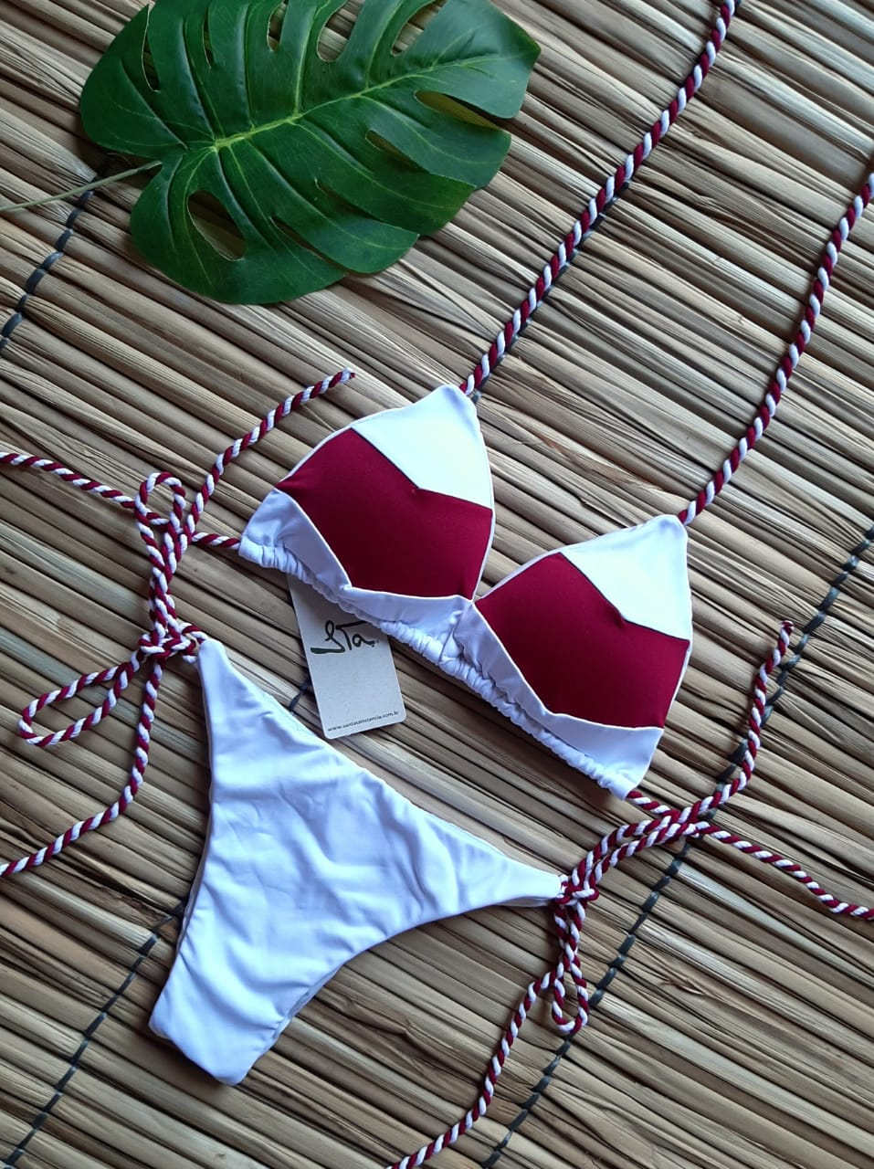 Biquíni Tricolor Branco e Vermelho