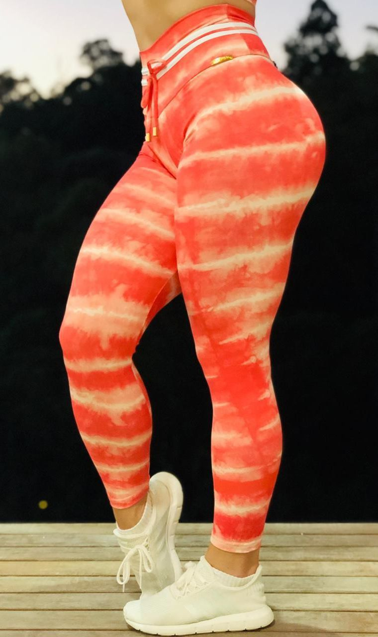 Calça Legging Bumbum Bia Tie Dye Orange