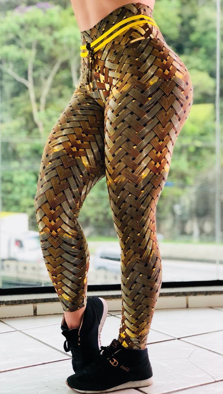 Calça Legging Bumbum Franzir Iron Gold